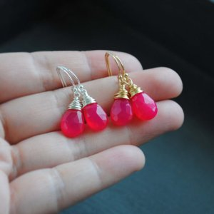 hot_pink_chalcedony_earrings